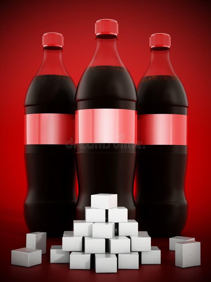 Colaflaskor med massor av sockerkuber royaltyfri illustrationer