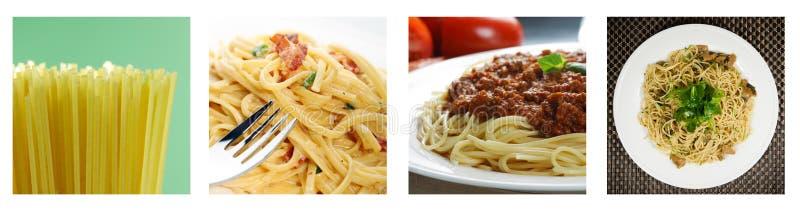 colage未煮过煮熟的意大利面食 免版税图库摄影