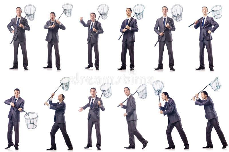 Colage biznesmen z łapanie siecią na bielu obrazy stock