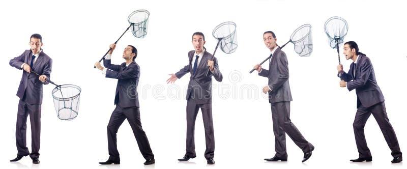 Colage biznesmen z łapanie siecią na bielu zdjęcie royalty free
