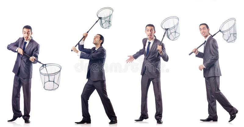 The colage of businessman with catching net on white. Colage of businessman with catching net on white stock images