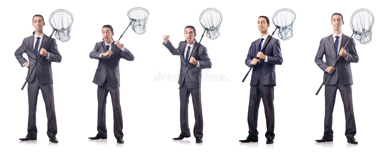 The colage of businessman with catching net on white. Colage of businessman with catching net on white stock photos