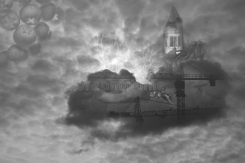 Colagem abstrata com as nuvens no céu e na formiga Criação surreal original fotos de stock