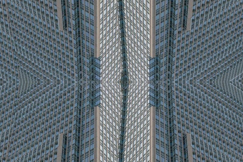 Colagem abstrata do fundo da arquitetura da parede da construção do arranha-céus com janelas fotografia de stock