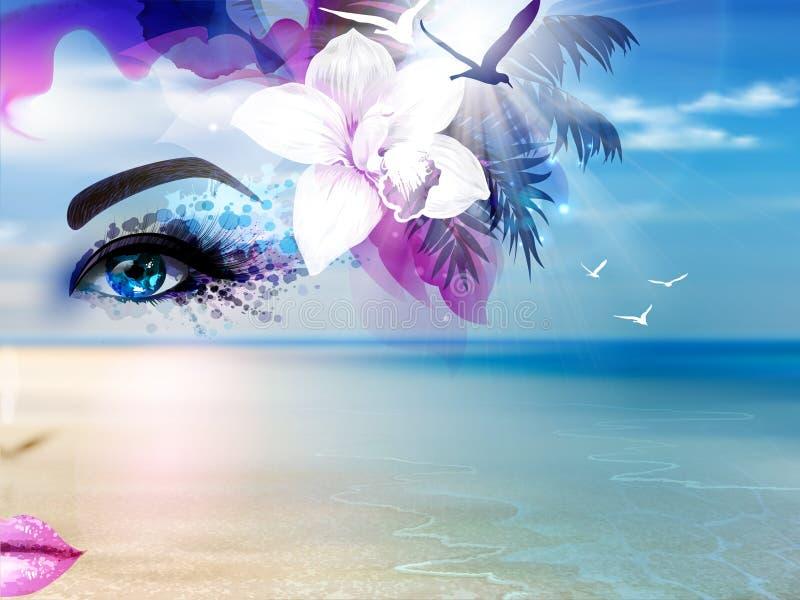 Colagem abstrata do verão com o mar da cara e do azul da mulher, o céu, a luz do sol e a praia ilustração do vetor