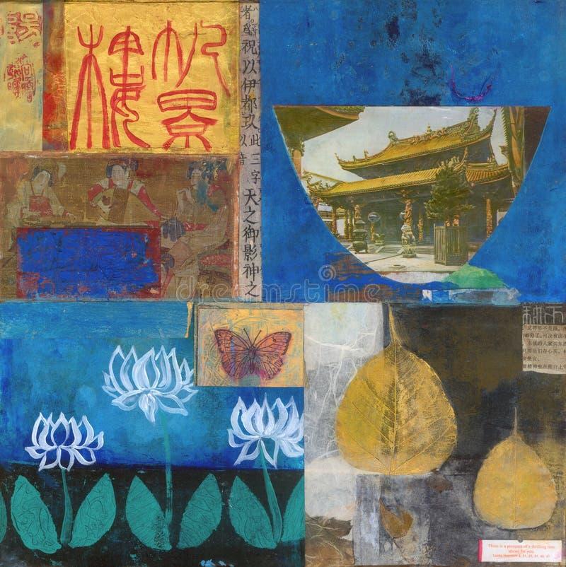 Colagem abstrata que pinta o tema asiático do templo imagens de stock