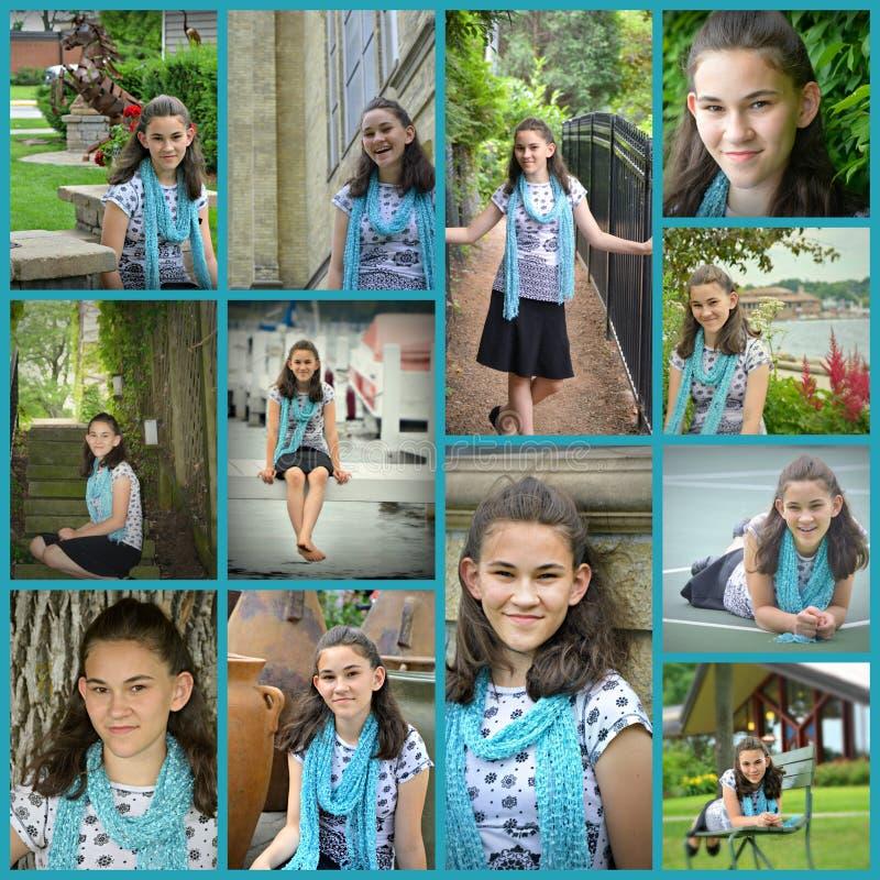 Colagem adolescente do retrato da menina fotos de stock