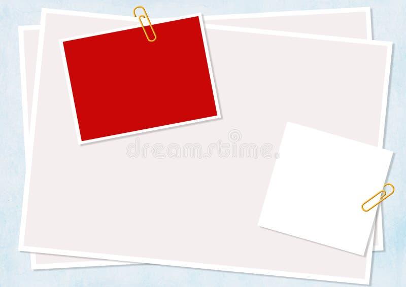 Colagem - as folhas de um papel prenderam pelo grampo ilustração stock