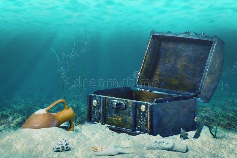 Colagem bonita da arca do tesouro de madeira velha fechado submersa fotografia de stock