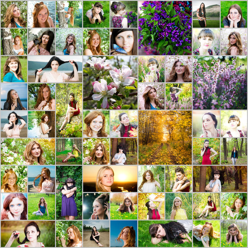 Colagem bonita da mulher feita de 61 imagens diferentes das mulheres imagens de stock royalty free