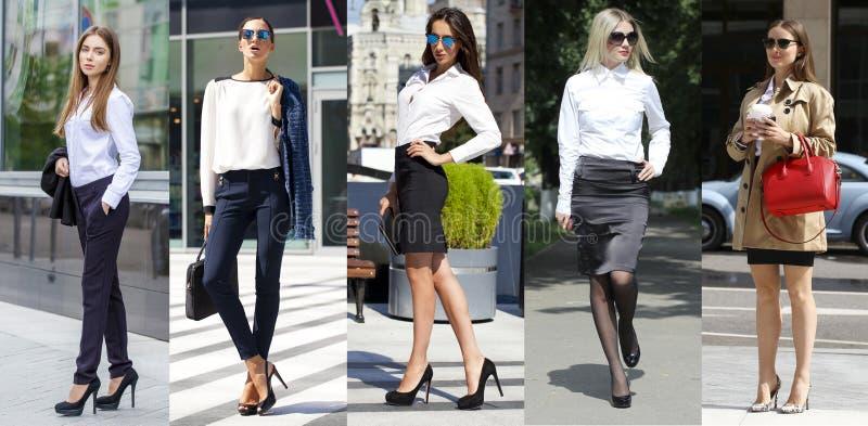 Colagem cinco mulheres de negócio imagem de stock