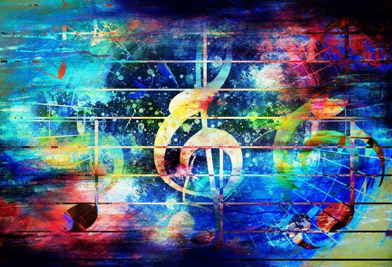 Colagem colorida abstrata bonita com notas da música e a clave do violino ilustração do vetor