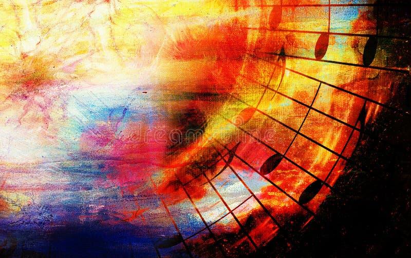 Colagem colorida bonita com motriz da música no fundo abstrato ilustração do vetor