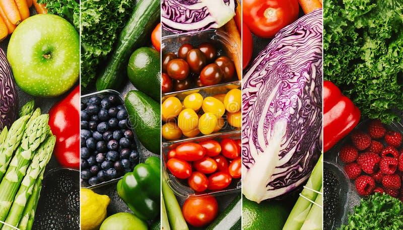 Colagem colorida dos legumes frescos foto de stock