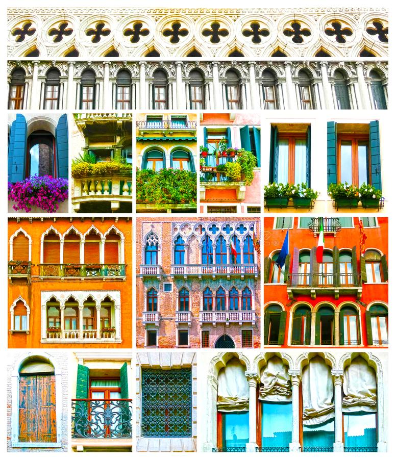 Colagem colorida feita das janelas de Veneza, Itália fotos de stock