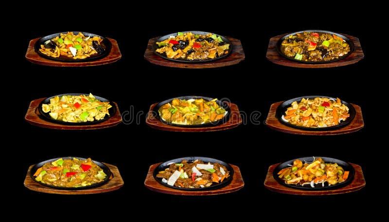 Colagem com alimento chinês na bandeja foto de stock royalty free