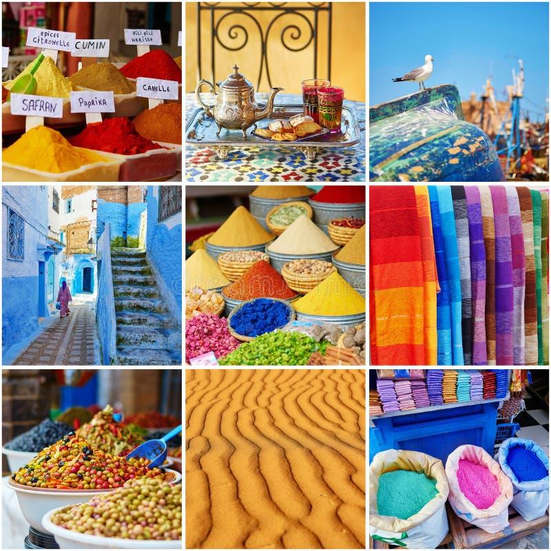 Colagem com as fotos marroquinas coloridas fotos de stock royalty free