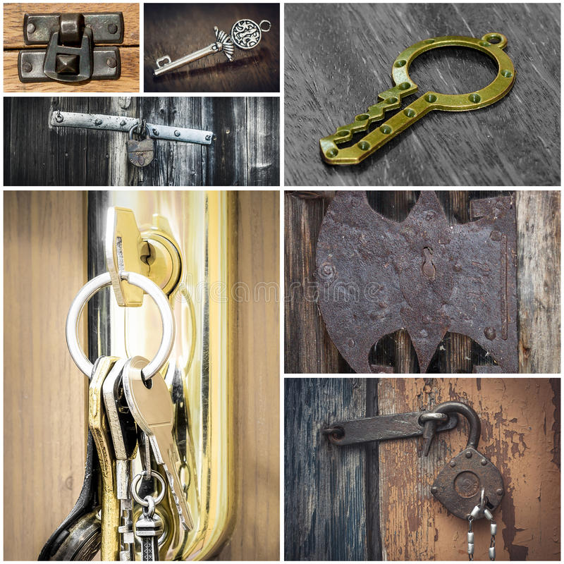 Colagem com fechamentos e chaves fotografia de stock