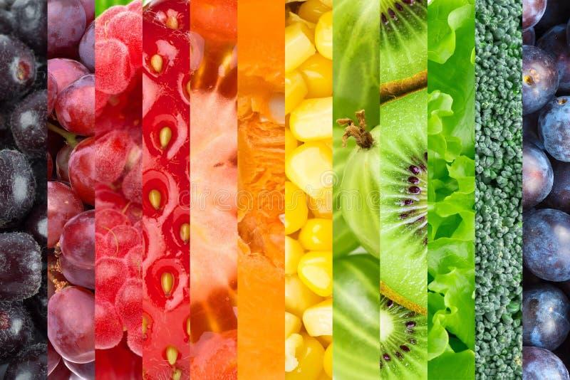 Colagem com frutas e legumes imagem de stock