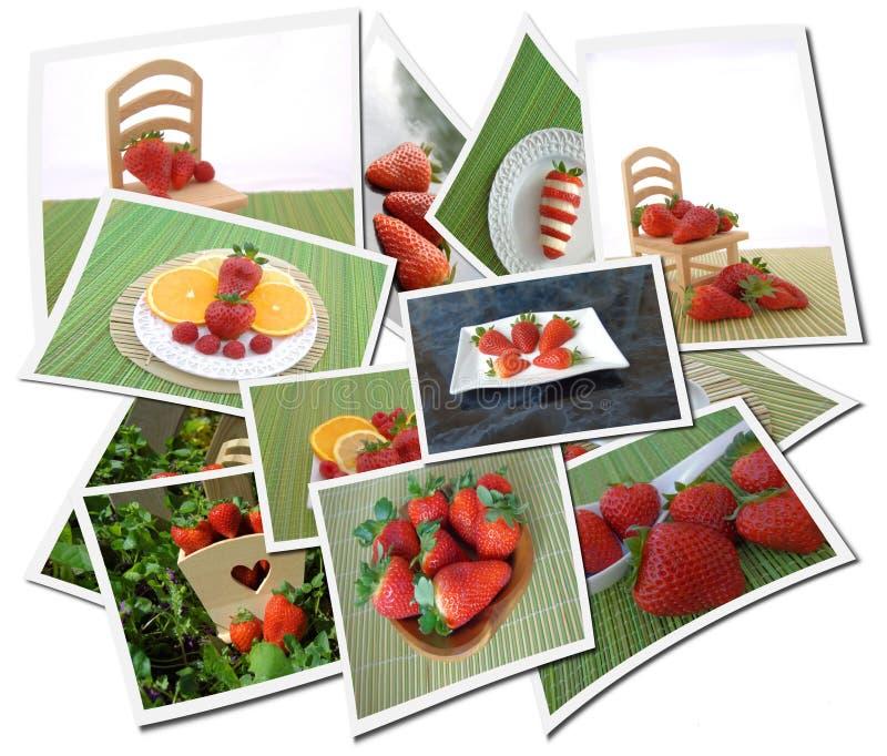 Colagem com morangos imagens de stock