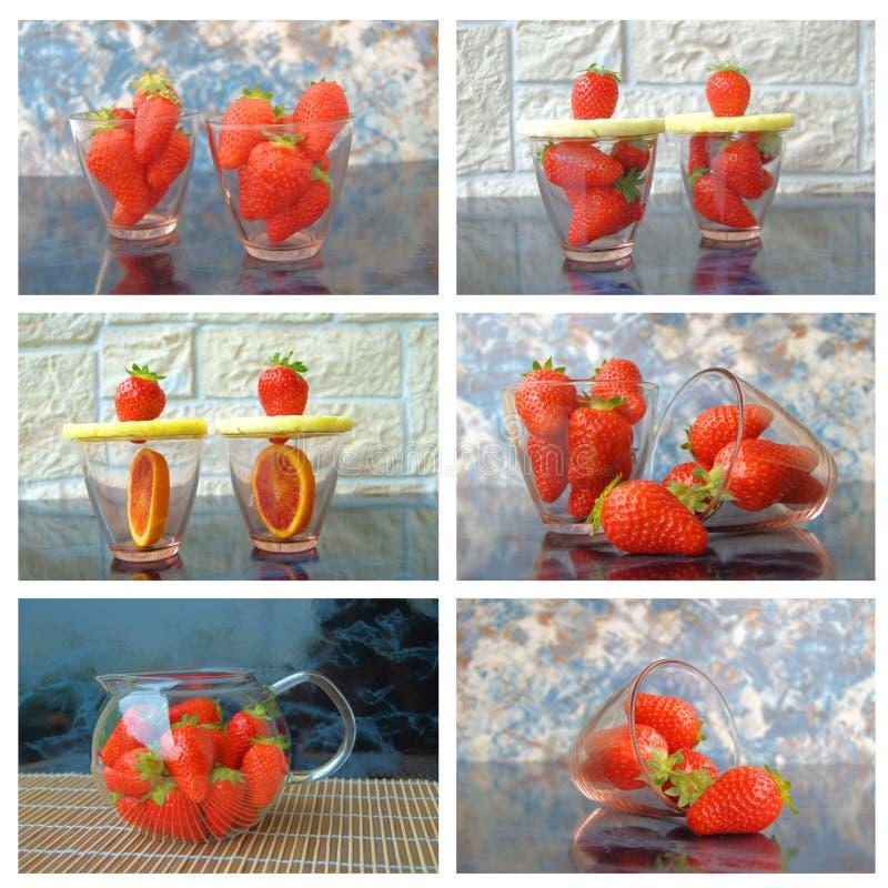 Colagem com morangos fotografia de stock