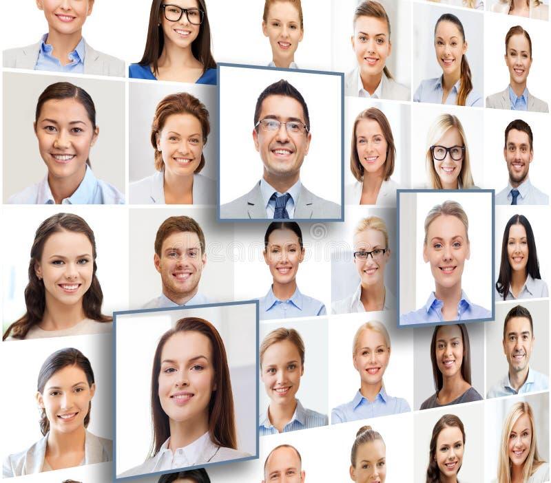 Colagem com muitos executivos dos retratos fotografia de stock