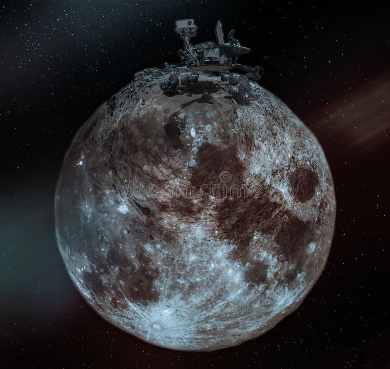 Colagem com o vagabundo enorme na lua pequena foto de stock royalty free