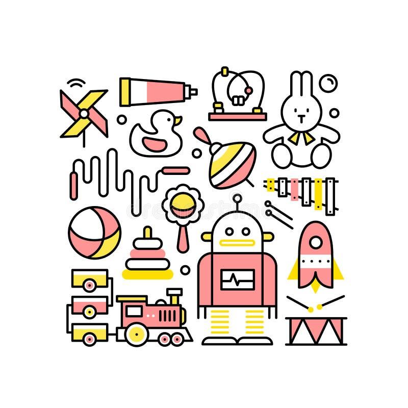 Colagem com os brinquedos para os bebês e os meninos ilustração stock