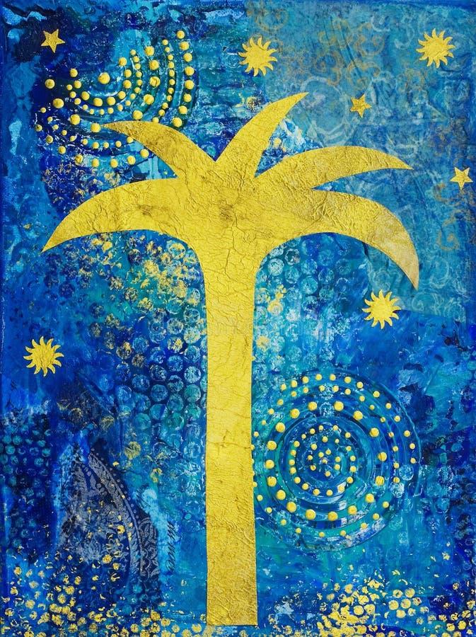 Colagem com palmeira ilustração stock