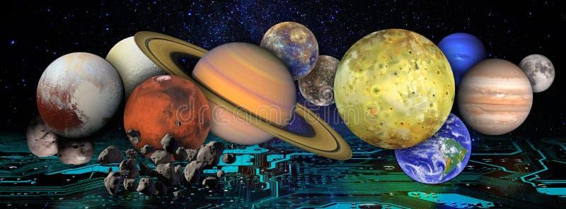 Colagem com planetas e luas no espaço acima do cartão-matriz Conceito futurista global da tecnologia da informação ilustração do vetor