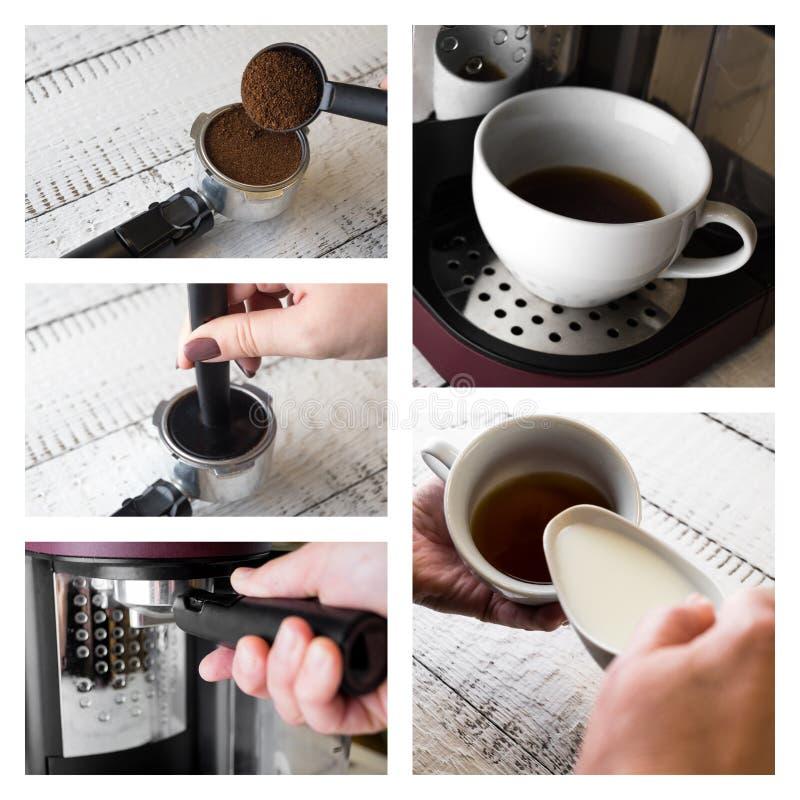 Colagem com procedimento de fabricação do café Dos feijões troçados a aprontar-se para beber o copo do café quente com leite Café foto de stock