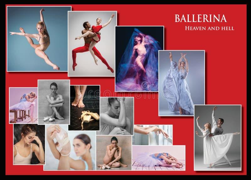 A colagem conceptual sobre amarguras e alegrias da bailarina imagens de stock royalty free