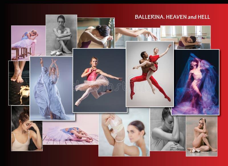 A colagem conceptual sobre amarguras e alegrias da bailarina fotografia de stock royalty free