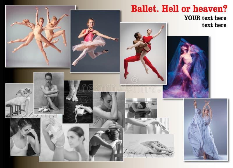 A colagem conceptual sobre amarguras e alegrias da bailarina fotografia de stock