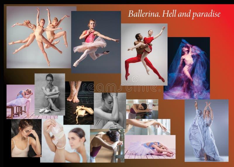 A colagem conceptual sobre amarguras e alegrias da bailarina imagens de stock