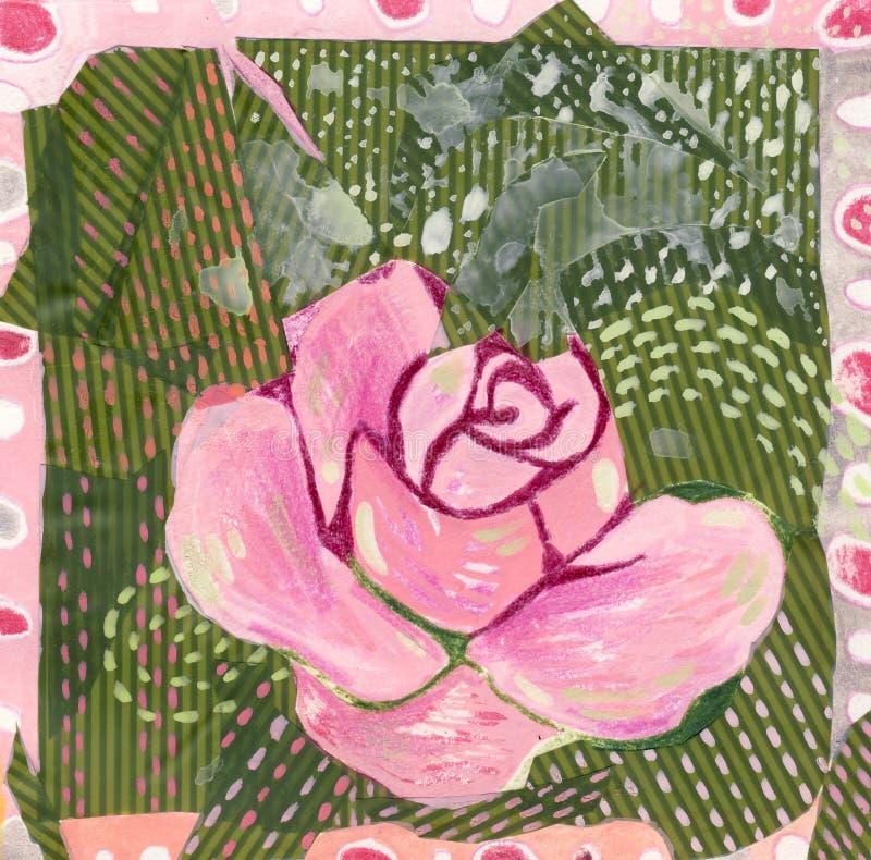 Colagem cor-de-rosa de Rosa ilustração do vetor