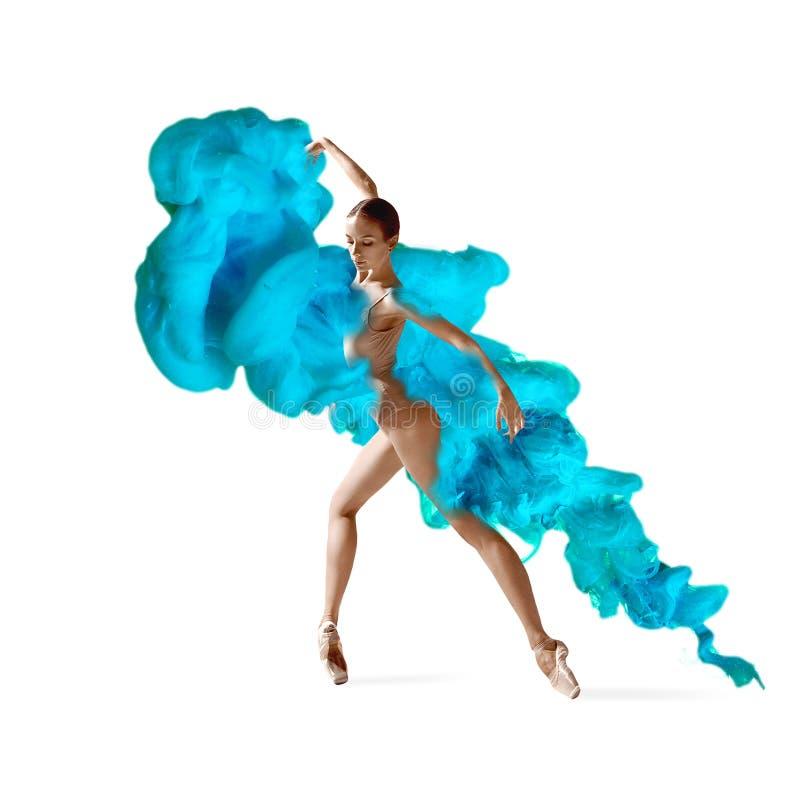 Colagem criativa formada pela cor que dissolve-se na água com dançarino de bailado foto de stock royalty free