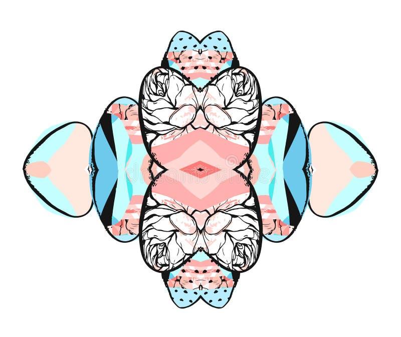 Colagem criativa na moda com texturas e formas diferentes Projeto gráfico moderno Arte finala incomum Vetor Isolado ilustração royalty free