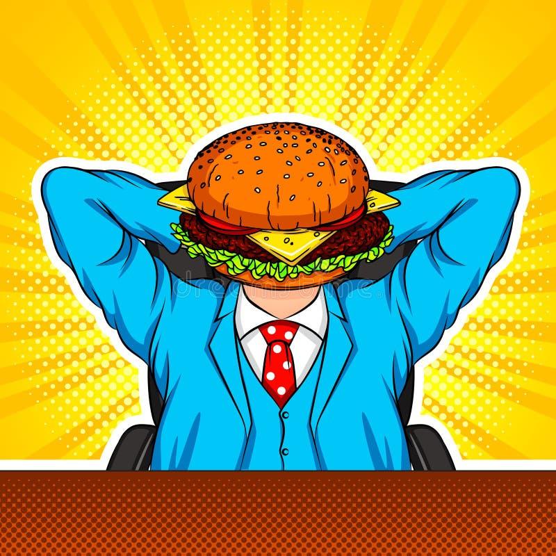 Colagem da arte moderna do vetor da cor com elementos do estilo do pop art A combinação de um hamburguer e de um trabalhador de e ilustração do vetor