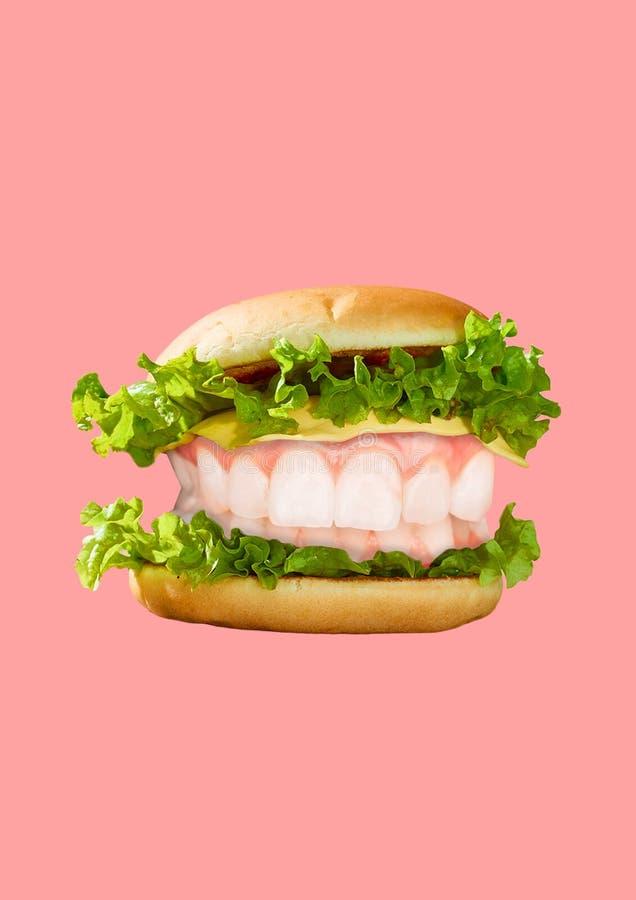 Colagem da arte moderna Hamburger e dentes brancos fotografia de stock royalty free
