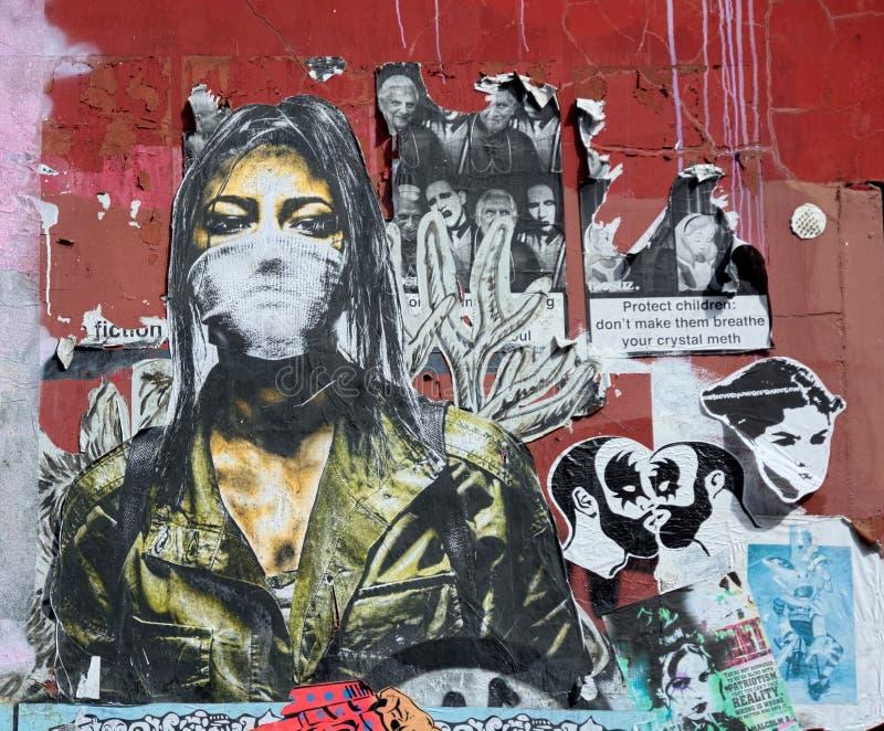 Colagem da arte da rua colada para murar foto de stock royalty free