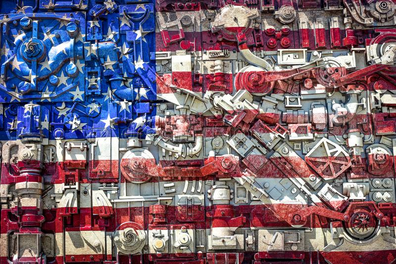 Colagem da bandeira americana, indústrias siderúrgicas que constroem, Beloit, WI fotografia de stock royalty free