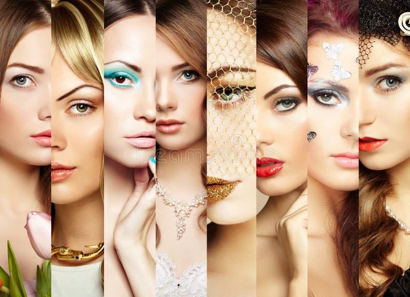Colagem da beleza Caras das mulheres imagem de stock royalty free