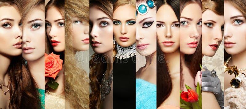Colagem da beleza Caras das mulheres fotos de stock royalty free
