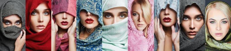 Colagem da beleza de mulheres bonitas imagens de stock royalty free