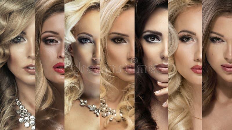 Colagem da beleza Jogo das faces das mulheres fotos de stock