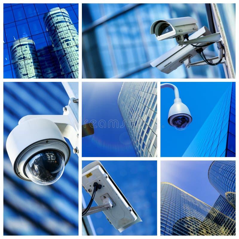 Colagem da câmara de segurança e do vídeo urbano fotos de stock