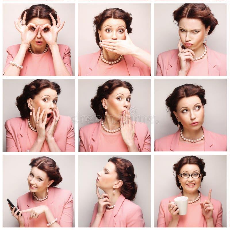 Colagem da cara da jovem mulher fotografia de stock
