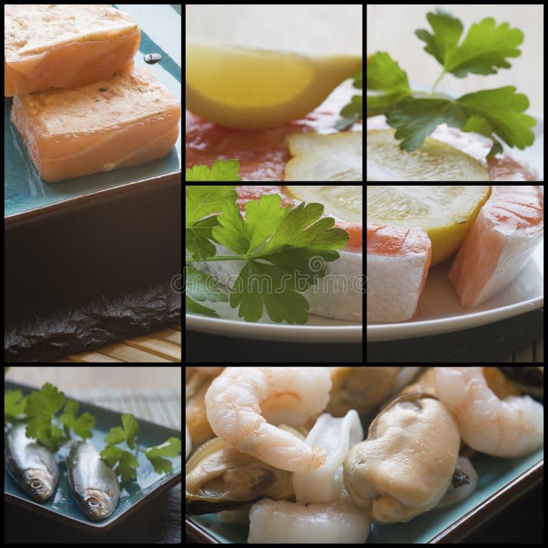 Colagem da compilação dos alimentos frescos com um tema imagem de stock royalty free