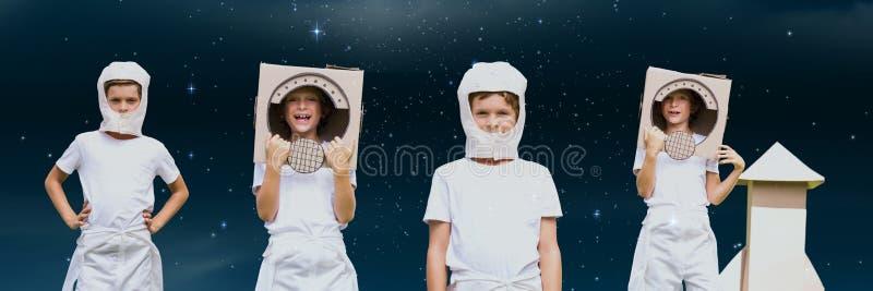 Colagem da criança do astronauta contra o fundo do espaço ilustração royalty free
